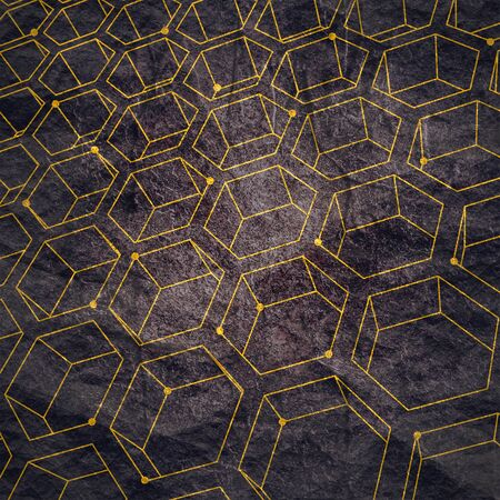 Perspective view on honeycomb. Hexagon pattern background. Isometric geometry. Molecule and communication pattern. Connected lines with dots.