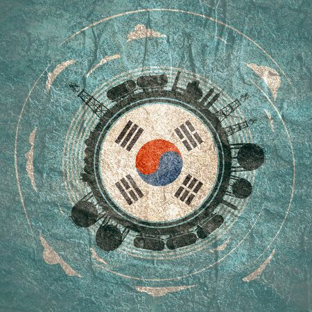 Circle with energy relative silhouettes. Objects located around circle. Flag of the South Korea in the center of circle. Modern brochure, report or leaflet design template.
