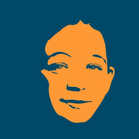 Face front view. Elegant silhouette of a female head in contrast backlight. Portrait of a happy smiled woman  イラスト・ベクター素材