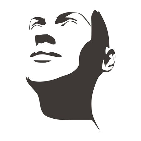 Face half turn view. Elegant silhouette of a female head. Portrait of a happy smiled woman