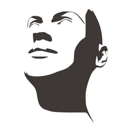Vista de media vuelta de cara. Elegante silueta de una cabeza femenina. Retrato de una mujer sonriente feliz