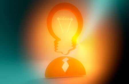 Lamp head businessman . Illustration of brainwork, idea appearance. Switch on bulb icon with idea text. 3D rendering