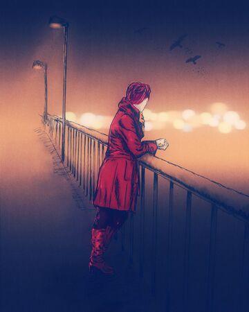 Beautiful young woman in sketch style on bridge. Autumn season. Hand drawn illustration. Film grain effect