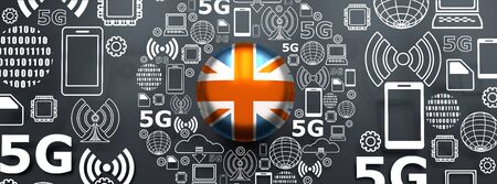 Mobile gadgets technology relative image. Circle frame with technology thin line icons. 5G Network Symbol. Flag of the United Kingdom. 3D rendering