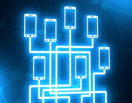 Social media network. Growth background with lines and phone silhouettes. Connected symbols for digital, interactive and global communication concept. Neon bulb illumination. 3D rendering Banco de Imagens