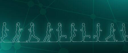 Running women. Side view silhouettes. Sport and recreation. Neon bulb illumination. 3D rendering Banco de Imagens