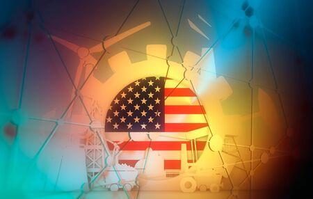 Energy and Power icons set with USA flag. Sustainable energy generation and heavy industry. 3D rendering