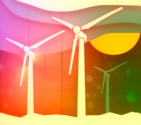 Wind turbine landscape illustration. Renewable energy development relative theme. Abstract background with cutout shapes. Banque d'images - 128663438