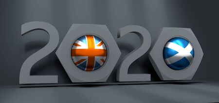 Business communication concept in industrial design. Scotland and United Kingdom business cooperation. National flags on glossy spheres inside the nuts. 3D rendering. 2020 year number
