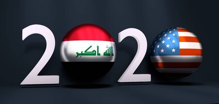 Communication concept. USA and Iraq business cooperation. 3D rendering. 2020 year number