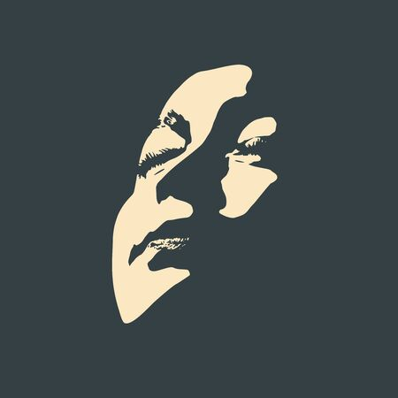 Face front view. Elegant silhouette of a female head in contrast backlight. Portrait of a happy smiled woman Ilustração