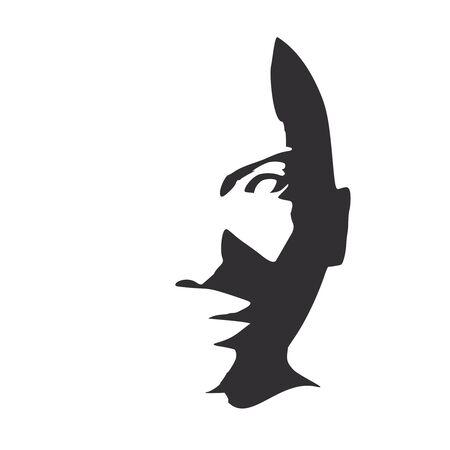 Face front view. Elegant silhouette of a female head. Portrait of a happy smiled woman Ilustração