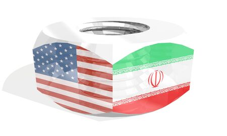 Business communication concept in industrial design. USA and Iran business cooperation. National flags on silver metal nut. 3D rendering