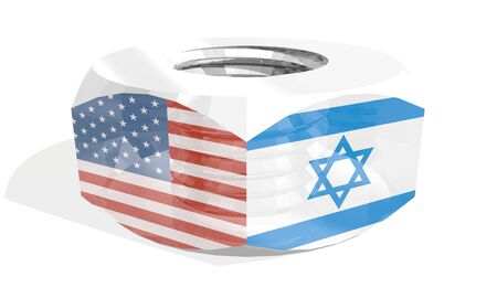 Business communication concept in industrial design. USA and Israel business cooperation. National flags on silver metal nut. 3D rendering