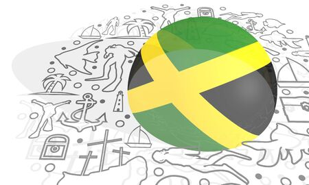 Circle Frame with Diving Line Icons. Travel and Vacation Poster Concept. 3D rendering. Flag of the Jamaica