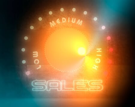 Balance adjust between low and high sale. Business regulator with neon shine scale. 3D rendering