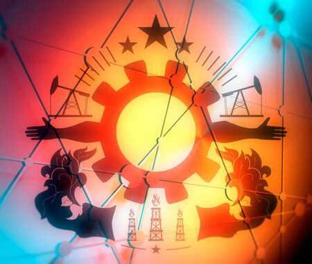 Mining industry emblem. Sign for branding. Human arms and cog wheel.