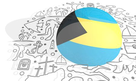 Circle Frame with Diving Line Icons. Travel and Vacation Poster Concept. 3D rendering. Flag of the Bahamas