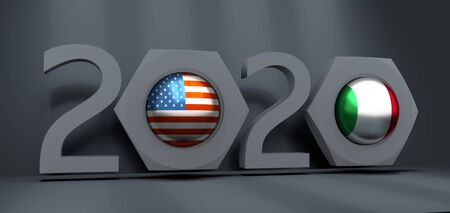 Business communication concept in industrial design. USA and Italy business cooperation. National flags on glossy spheres inside the nuts. 3D rendering. 2020 year number