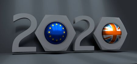 Business communication concept in industrial design. European Union and United Kingdom business cooperation. National flags on glossy spheres inside the nuts. 3D rendering. 2020 year number