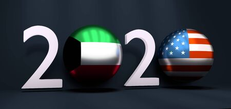 Communication concept. USA and Kuwait business cooperation. 3D rendering. 2020 year number