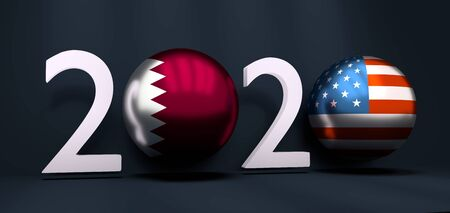 Communication concept. USA and Qatar business cooperation. 3D rendering. 2020 year number Banco de Imagens