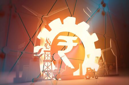 Energy and Power icons set. Sustainable energy generation and heavy industry. 3D rendering. Luminous Rupee sign Banco de Imagens