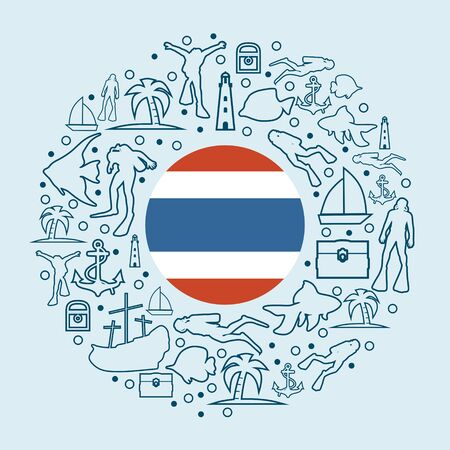 Circle Frame with Diving Line Icons. Travel and Vacation Poster Concept. Flag of the Thailand