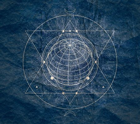 Mystical geometry symbol. Linear alchemy, occult, philosophical sign. For music album cover, poster, sacramental design. Astrology and religion concept. Foto de archivo - 128950858