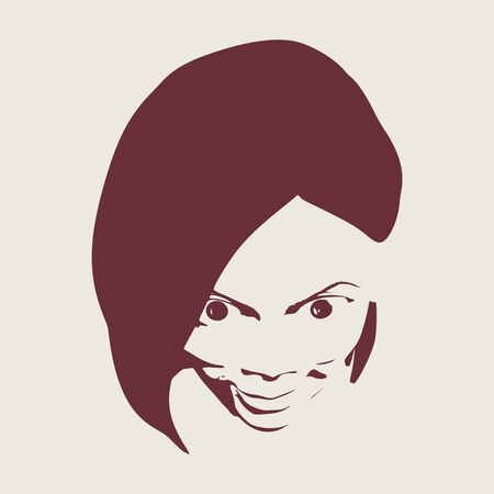 Face front view. Elegant silhouette of a female head. Portrait of a happy smiled woman with wide opened eyes.