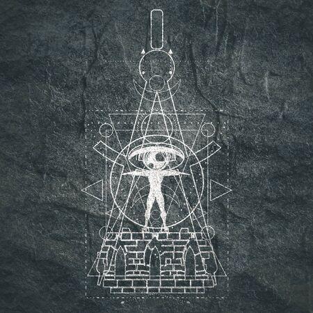 Mystical geometry symbol. Linear alchemy, occult, philosophical sign. For music album cover, poster, sacramental design. Astrology and religion concept. Foto de archivo - 128950980