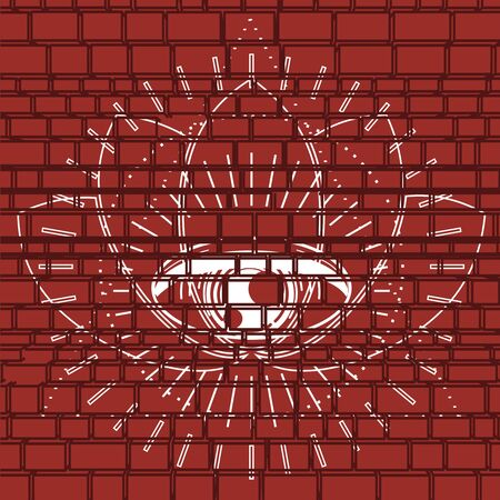 Mystical geometry symbol. Linear alchemy, occult, philosophical sign. For music album cover, poster, sacramental design. Astrology and religion concept. Graffiti on brick wall Foto de archivo - 128951836