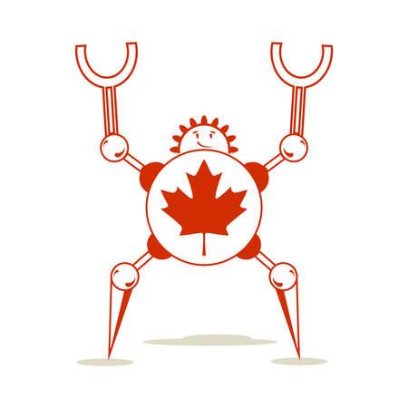 Cute vintage robot. Robotics industry relative image. Cartoon person. Flag of the Canada