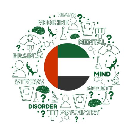 Mental health creative concept. Circle frame with medicine thin line icons and tags. Flag of the United Arab Emirates Illustration