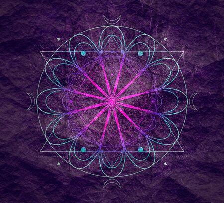 Mystical geometry symbol. Linear alchemy, occult, philosophical sign. For music album cover, poster, sacramental design. Astrology and religion concept. Foto de archivo - 128952315