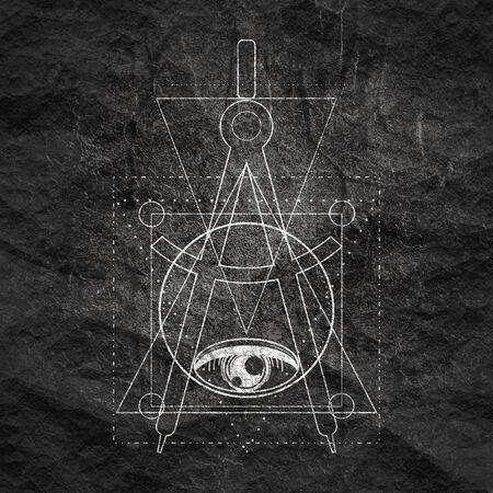 Mystical geometry symbol. Linear alchemy, occult, philosophical sign. For music album cover, poster, sacramental design. Astrology and religion concept. Foto de archivo - 129314528