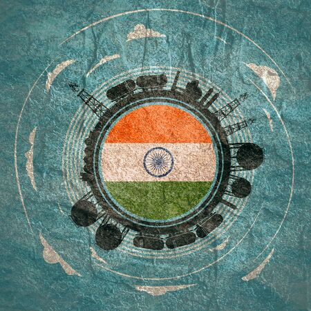 Circle with energy relative silhouettes. Objects located around circle. Flag of the India in the center of circle. Modern brochure, report or leaflet design template. Фото со стока