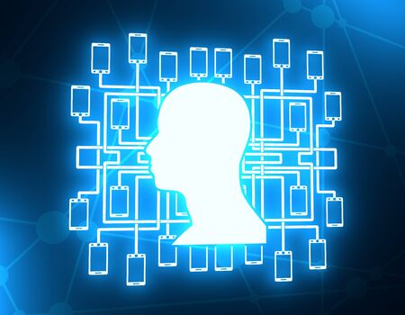 Social media network. Growth background with lines, human head and phone silhouettes. Connected symbols for digital, interactive and global communication concept. Neon bulb illumination. 3D rendering