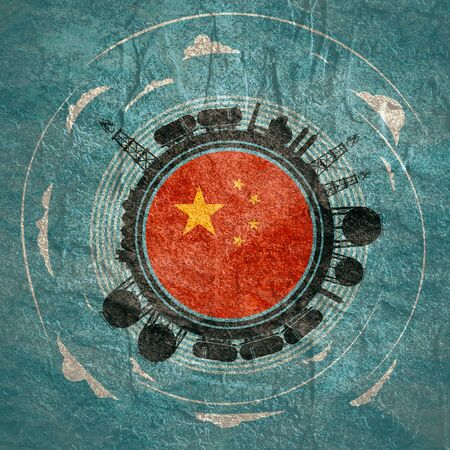 Circle with energy relative silhouettes. Objects located around circle. Flag of the China in the center of circle. Modern brochure, report or leaflet design template.