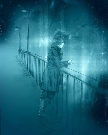 Beautiful young woman in sketch style on bridge. Autumn season. Hand drawn illustration. Elements of this image furnished by NASA. Deep space with stars and nebula Stock fotó - 129314574
