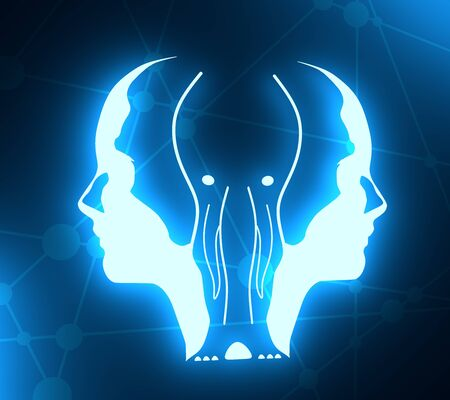 An elephant or two face profile view. Optical illusion. Human head make silhouette of animal. Neon bulb illumination. 3D rendering
