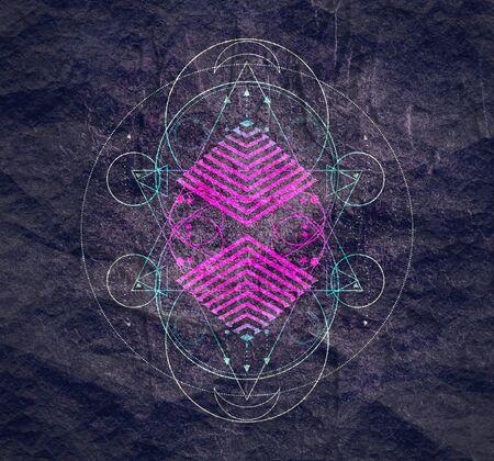Mystical geometry symbol. Linear alchemy, occult, philosophical sign. For music album cover, poster, sacramental design. Astrology and religion concept. Foto de archivo - 129314584