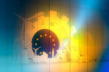 Energy and Power icons set with European Union flag. Sustainable energy generation and heavy industry. 3D rendering