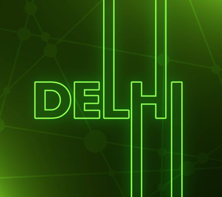 Image relative to India travel theme. Delhi city name in geometry style design. Creative vintage typography poster concept. 3D rendering. Neon bulb illumination