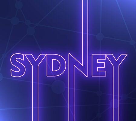Image relative to Australia travel theme. Sydney city name in geometry style design. Creative vintage typography poster concept. 3D rendering. Neon bulb illumination Stockfoto