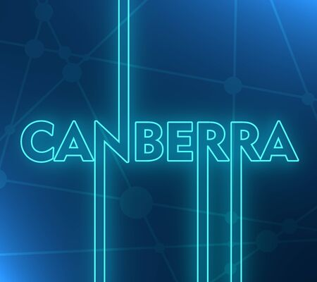 Image relative to Australia travel theme. Canberra city name in geometry style design. Creative vintage typography poster concept. 3D rendering. Neon bulb illumination Stockfoto