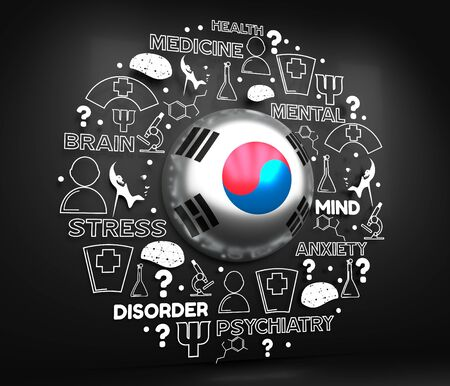 Mental health creative concept. Circle frame with medicine thin line icons and tags. Flag of the South Korea. 3D rendering.
