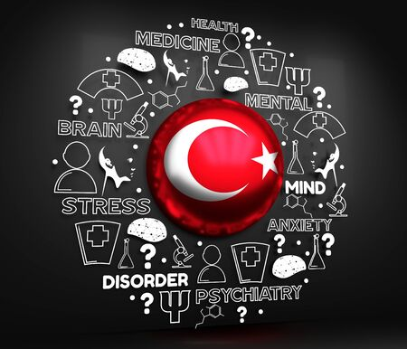 Mental health creative concept. Circle frame with medicine thin line icons and tags. Flag of the Turkey. 3D rendering. Reklamní fotografie