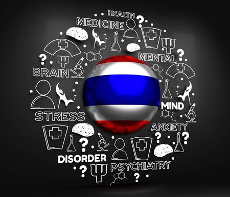 Mental health creative concept. Circle frame with medicine thin line icons and tags. Flag of the Thailand. 3D rendering.
