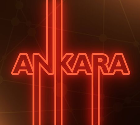 Image relative to Turkey travel theme. Ankara city name in geometry style design. Creative vintage typography poster concept. 3D rendering. Neon bulb illumination